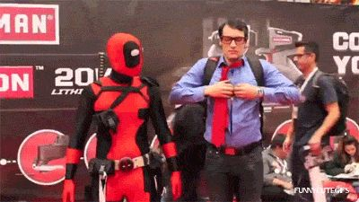 Hilarious animated gifs of Deadpool having fun at the Comic Con conventions.