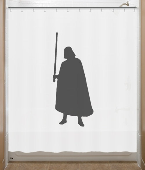 Wondering if we can get some darth vader action on our longer curtains?  Star Wars Shower Curtain Darth Vader by SHOWERCURTAINS on Etsy