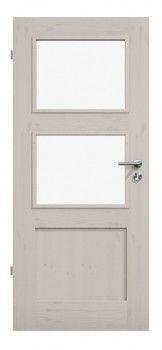 Bauhaus-Eleganz in einem weißen Hauch: Massivholztür TM-32 in Kiefer astig/weiß pigmentiert - deineTuer.de