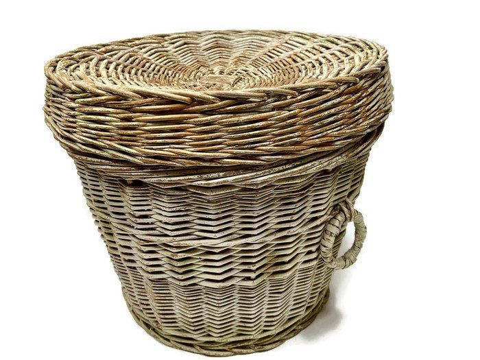 Large Wicker Storage Basket With Lid And Handles Vintage Round Woven Laundry Hamper Toy Storage Boho Wicker Baskets Storage Storage Baskets With Lids Wicker