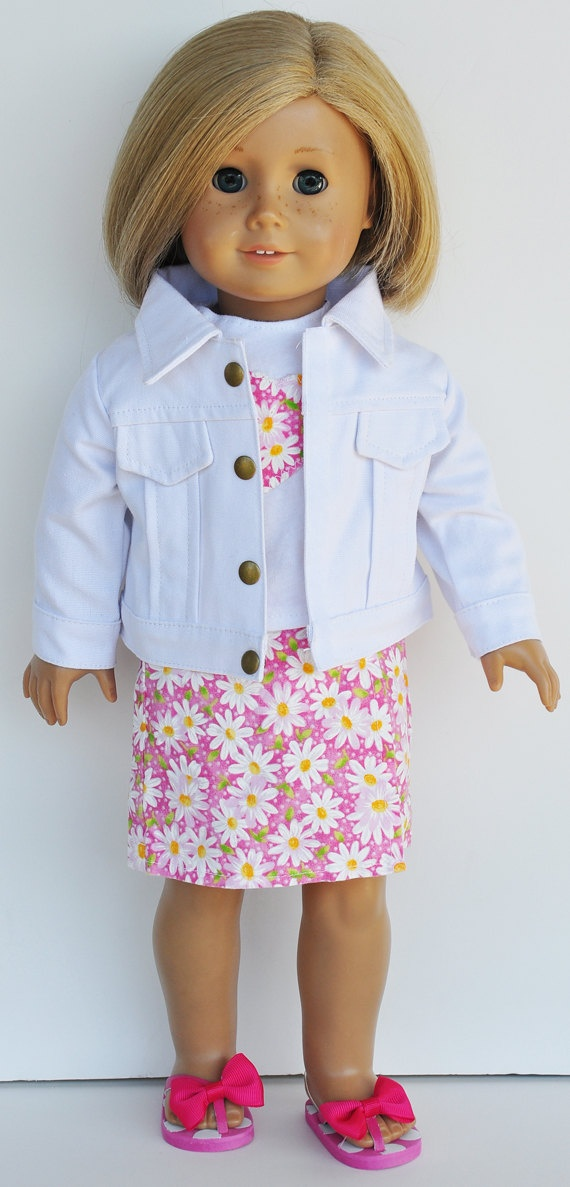 American Girl Clothes - Pink & White Floral Skort and Tee with White Jacket. $26.00, via Etsy.  Liked
