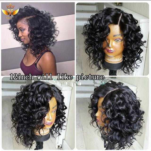 Short Lace Front Human Hair Wigs For Black Women Curly Human Hair Full Lace Wigs Natural Hair Glueless Peruvian Full Lace Wig 7a