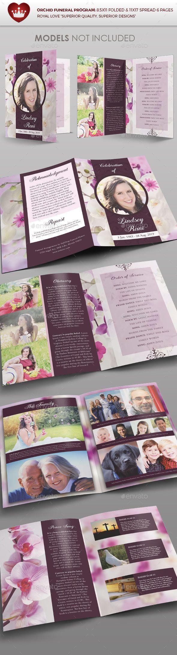 Orchid Funeral Program - Brochures Print Templates