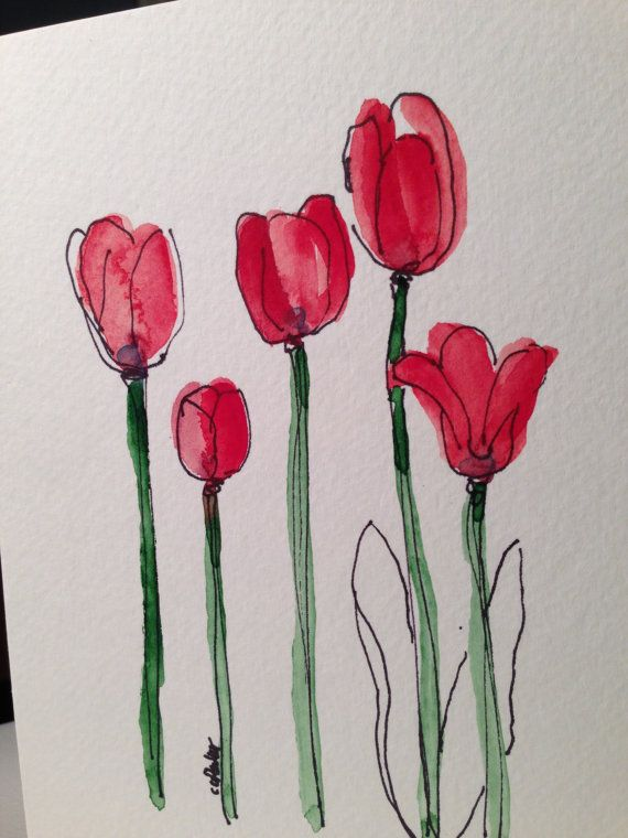 Red Tulips Watercolor Card By Gardenblooms On Etsy 3 50