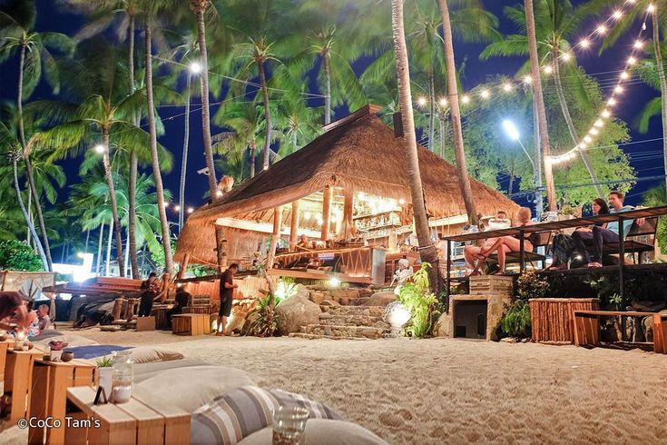 Coco Tams is a fun and extremely popular beach bar located just outside of The Wharf Samui. With beanbags on the beach, swing seats at the bar, cabanas, shisha and even a large projector screen, it is the ideal tropical relaxation spot and one of the top nightlife