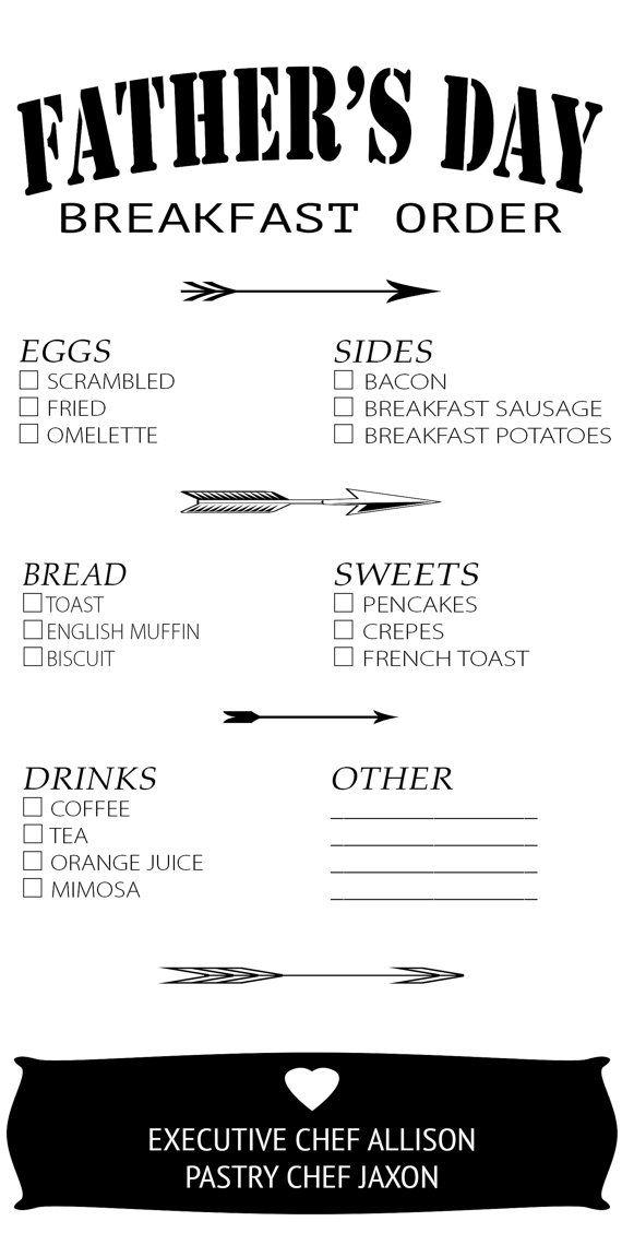 Father's Day Breakfast Menu by ALLIandJAX on Etsy