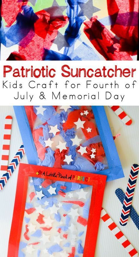 Patriotic Suncatcher Kids Craft for Fourth of July, Memorial Day, & Flag Day! This craft is cute, easy, and mess-free.