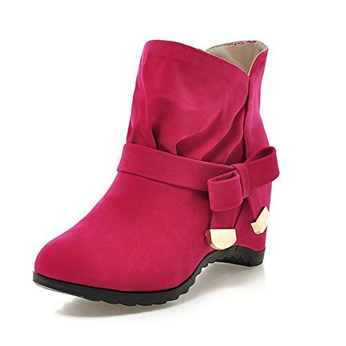 Getmorebeauty Women's Red Wedge Heel And Bows Designer Ankle Boots 9 B(M) US $29.50
