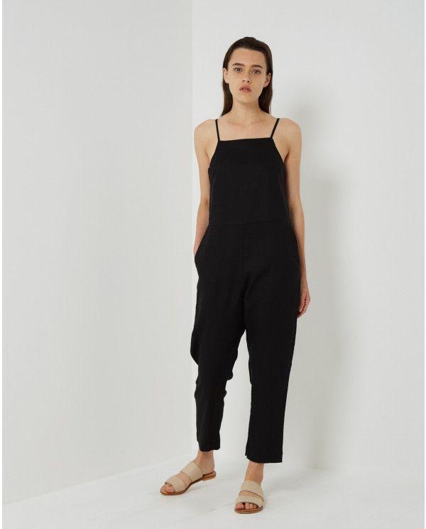 Assembly Label - Flow Linen Jumpsuit Black