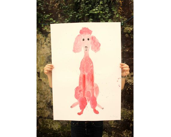 Original Faye Moorhouse painting - Giant Pink Poodle 003 - FREE SHIPPING  A painting of a GIANT pink poodle!  Gouache paint on 220gsm white cartridge paper. Measures 594 x 841 mm - A1 size  Ships in a large postal tube  Signed and embossed in bottom right hand corner. *colours may vary from screen to screen