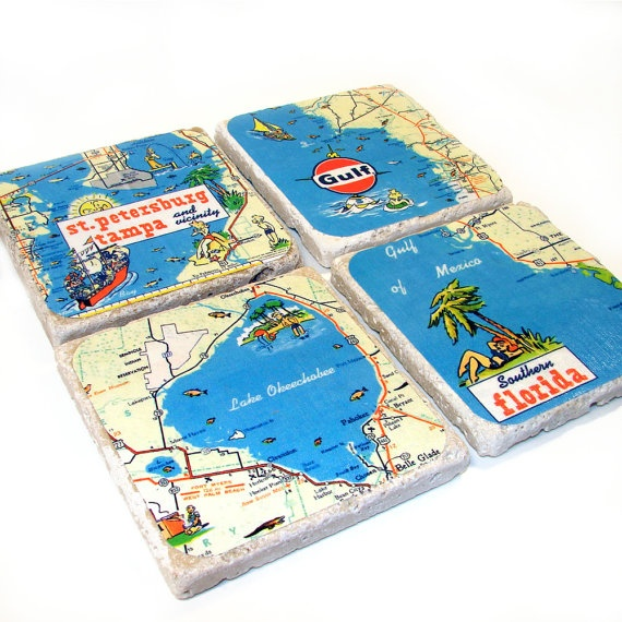 Florida waters map vintage stone drink coasters it 39 s souvenir time pinterest water - Stone coasters for drinks ...
