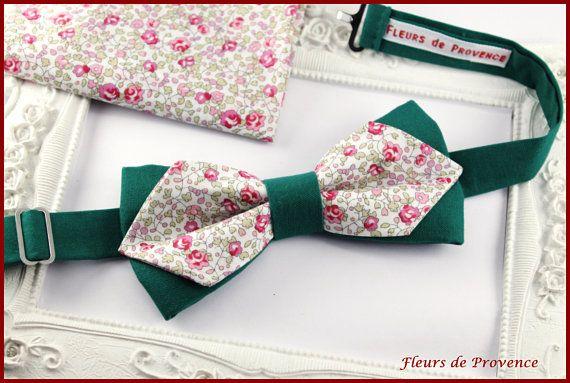 Set Noeud Papillon double, Boutons de manchette et Pochette costume assortie Tissu Liberty Eloise rose et vert - Homme