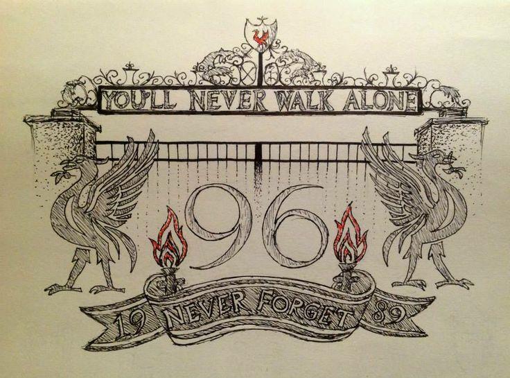 Liverpool FC tattoo design - drawn in pen.