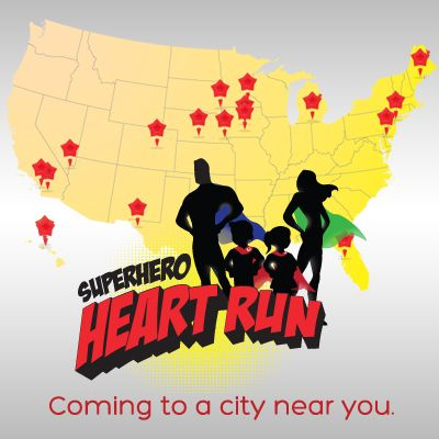 """Introducing the new """"Superhero Heart Run"""" exclusively and especially to honor and celebrate CHD!!! We are excited to announce that the newly branded run will be a collaborative effort of organizations that are working to create awareness for Congenital Heart Defects! Our kids need and deserve an event that will spread massive awareness for CHD. Same destinations are being planned under our new brand! We are SO excited! #CHD #SuperheroHeartRun #HeartHeroes"""