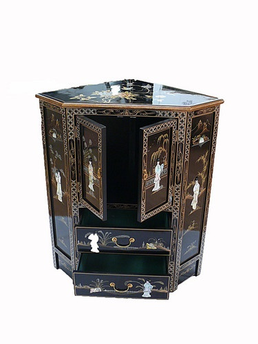 Perfect Black Lacquered Furniture With Mother Of Pearl Corner Cabinet Oriental |  EBay