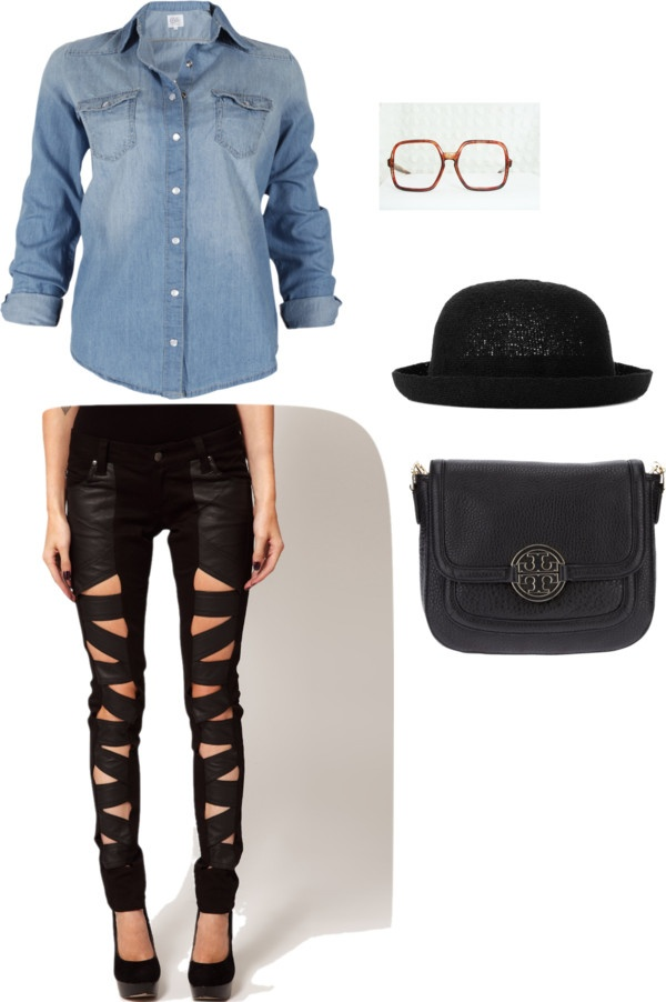 """Denim vs Black"" by theereemo on Polyvore"