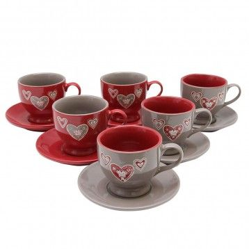 HEART-felt package of 6 ceramic cups and plates!