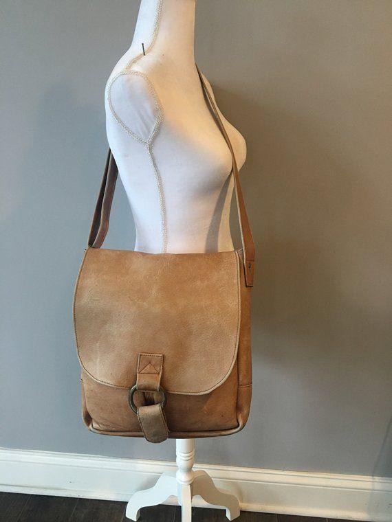 7eb3a322f51f Vintage leather messenger bag - distressed tan leather messenger bag - leather  tote bag