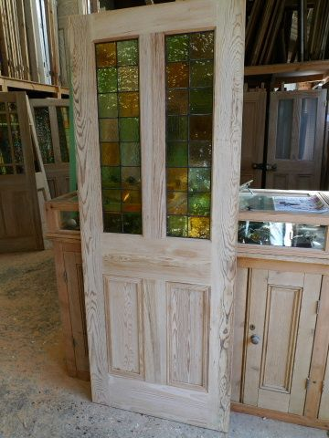 images glass half doors | Half Glazed Interior 4 panel Pitch Pine Door ,complete with stained ...