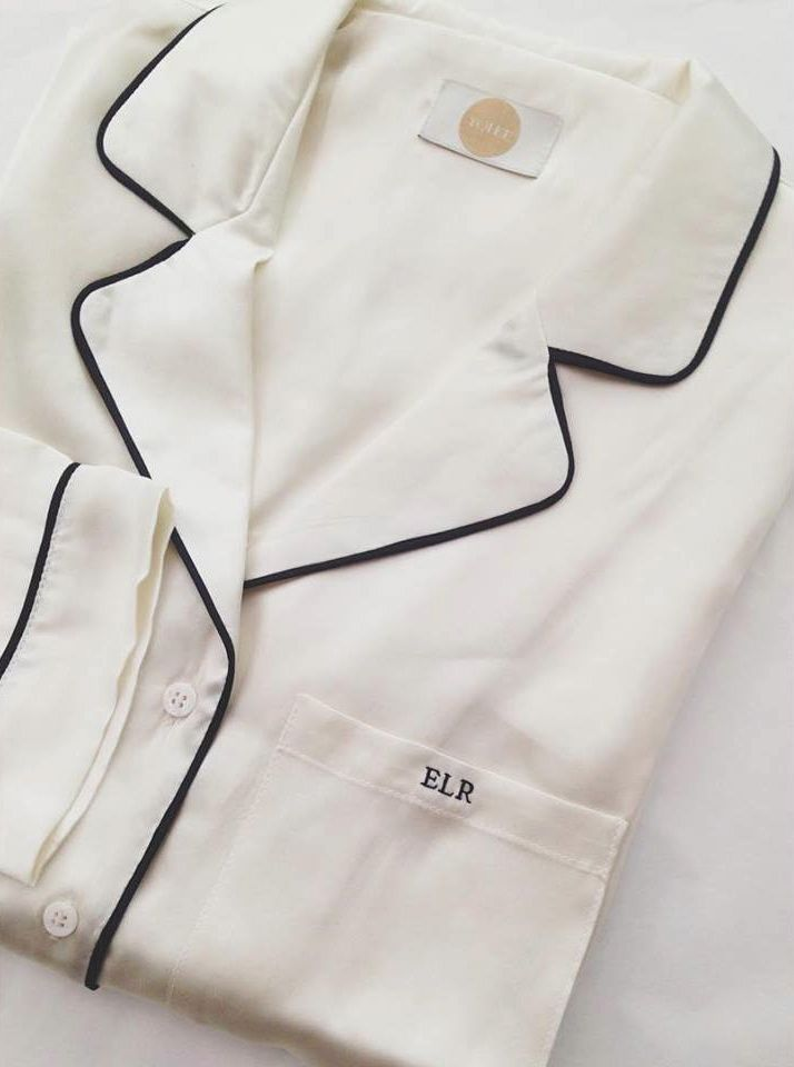 yolke monogrammed silk stretch pyjamas in ivory with black piping