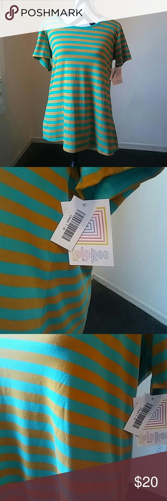 "New w tags LulaRoe M Classic T stripped LulaRoe M Classic T Gold and Teal stripped colors. Longer in the back. Approx 42"" bust and 22"" in lenght.  According to the sizing chart this size fits best sizes 10-13 but it is stretchy and can go up a couple sizes.  The classic T is a wardrobe staple with short sleeves and high round neck. LuLaRoe Tops Tees - Short Sleeve"