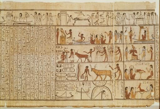 , Agriculture, Book of the Dead, Egypt, Drawing, Egyptian, Ancient, Hieroglyphic script, Ox, Papyrus, Peasant, Resurrection, General, Sowing