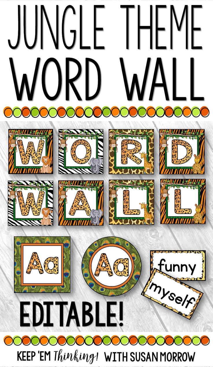 Make your jungle or safari theme classroom pop with this Jungle Theme Word Wall Kit.  You have everything you need for your word wall including a jungle word wall header with jungle animals and an animal print border.  You also have two sizes and shapes of Jungle theme alphabet header cards and all 220 Dolch Word list word cards!