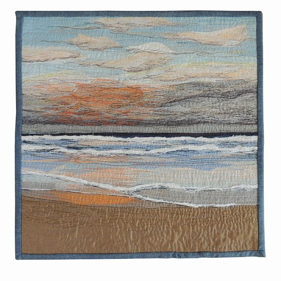 "Textile Art Quilt,  ""Dusk"", fabric stitched   art piece, original art work seascape CLEARANCE SALE"