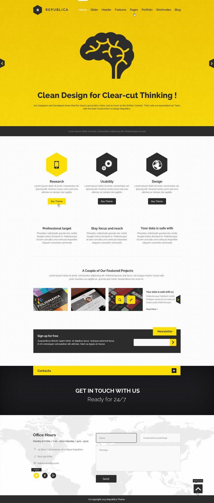 Republica | Responsive Corporate WordPress Theme #web #design