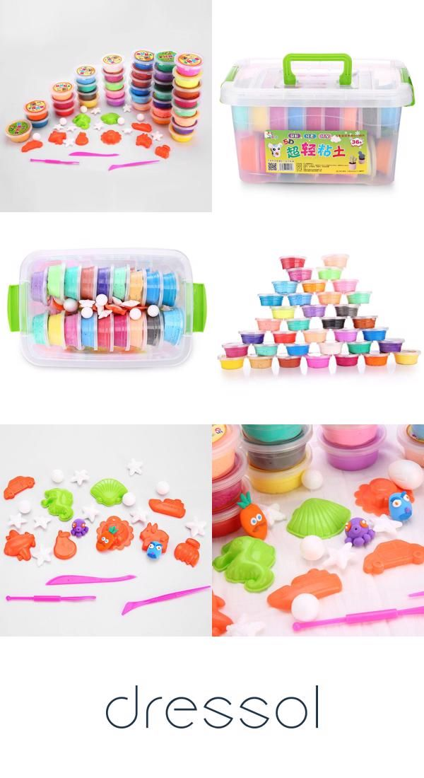 36 Colors Diy Stress Relief Toy Colorful Resin Clay Mud For