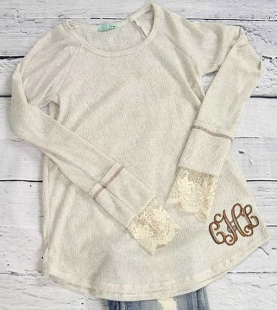 Monogrammed Two-tone Long Sleeve Top with Lace - Oatmeal