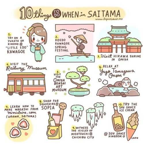 Saitama, one of Japan's 47 prefectures, is just north of Tokyo. Here are some of the activities you can do while in Saitama: