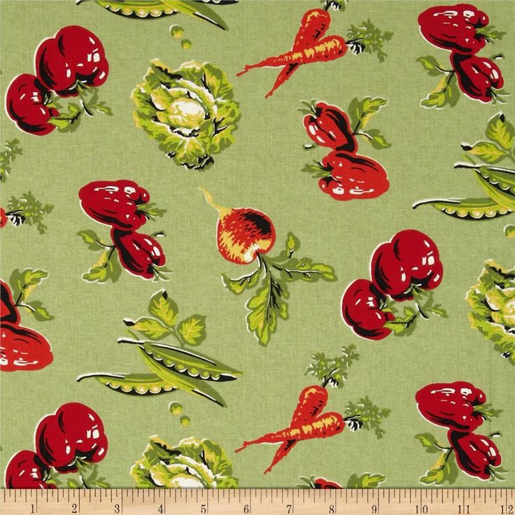 Tossed Vegetables Green from @fabricdotcom  This cotton print is perfect for quilting, apparel and home decor accents.  Colors include white, black, shades of green, shades of red, shades of orange and shades of yellow.