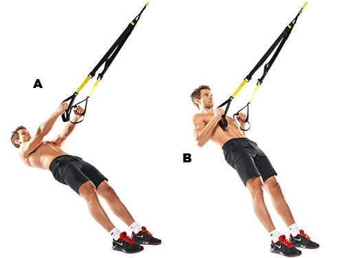 Low Row. Lie under the TRX and grab hold of the handles (A). Raise your body, drawing your shoulders back to focus the work on your lats for that V-shape (B). The Charlie Sheen levels of instability make this move a great back builder.