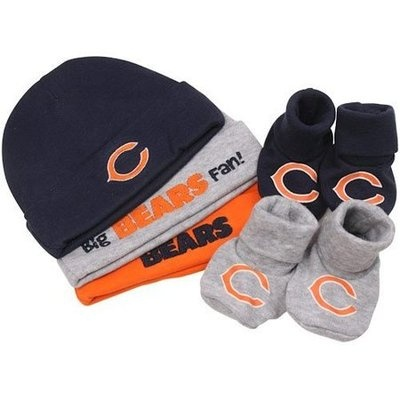 Infant 0 6 Months Chicago Bears 3 Caps Hats 2 Pair Baby Booties Boy Girl 5 PC | eBay