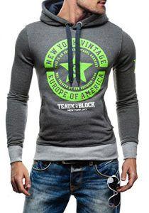 günstig kaufen | BOLF Herren Pullover mit Kapuze Classic Sweatshirt STEGOL 1056 Anthrazit-Grün M [1A1] |