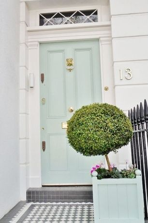 """""""Fresh blue door and fun topiary make this a home you want to enter!"""""""