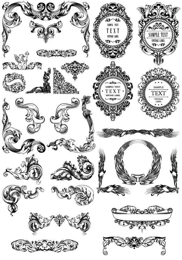 Free Baroque decorative elements vector