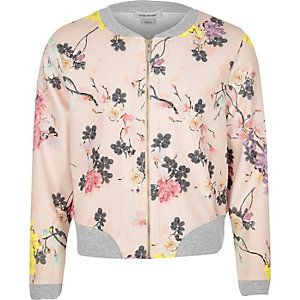 RI £20 Girls pink floral bomber jacket