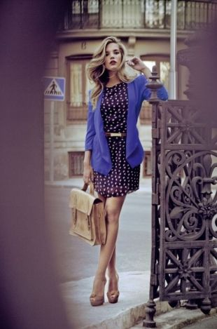 blue polka dot dress with blue jacket and nude peep toes