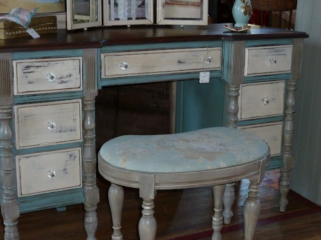 Vanity in Chalk Paint® decorative paint by Annie Sloan. Provence, Old White and French Linen by the Queen of Chairs