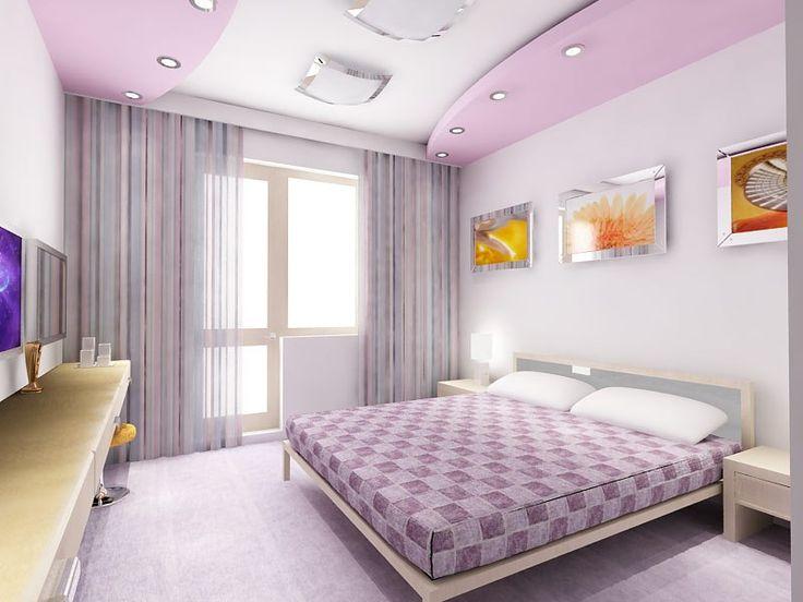 Спальни с натяжными потолками в розовом стиле!