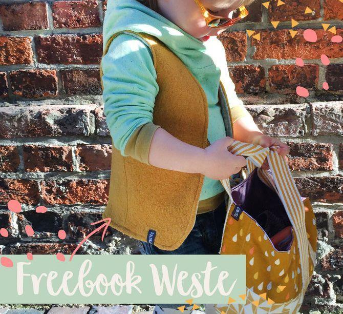 Lybstes Freebook: Wendeweste nähen, Herbstoutfit mit Walkloden in Senfgelb