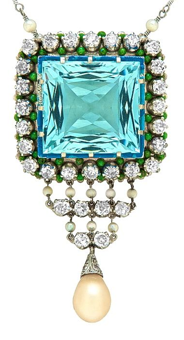 Aquamarine, Pearl & Diamond Art Deco Pendant