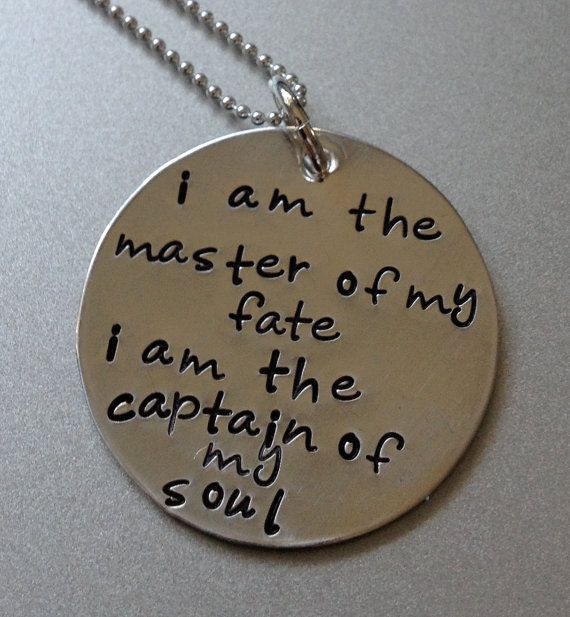 I am the master of my fate  handstamped by Crazy4Handstamping, $25.00