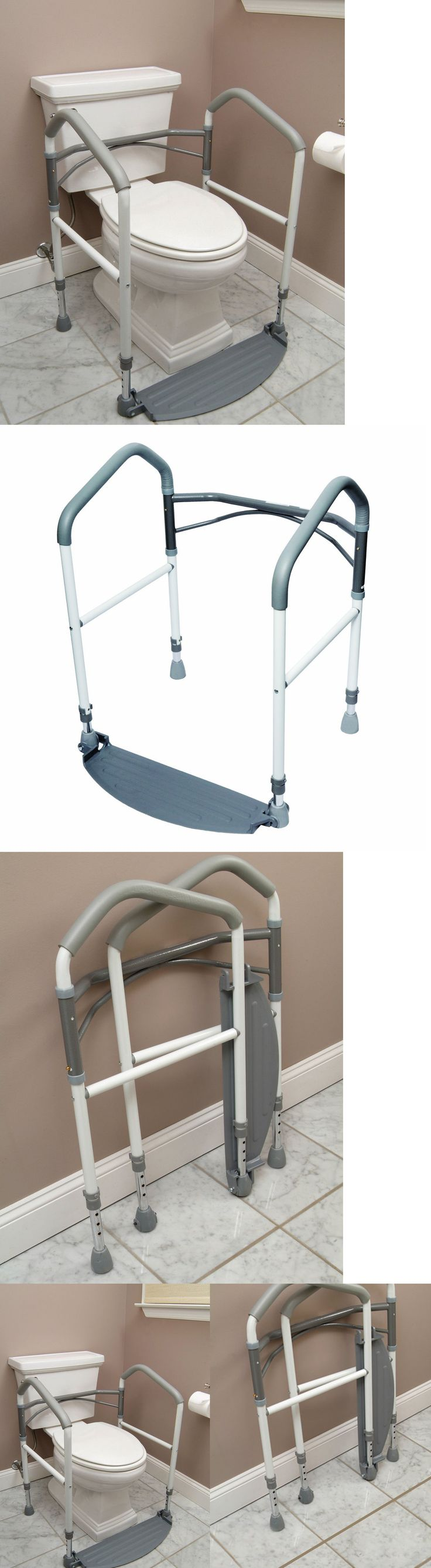 Handles and Rails: Toilet Surround Support Safety Frame Elderly Mobility Aid Portable Grab Bar Rail BUY IT NOW ONLY: $114.8
