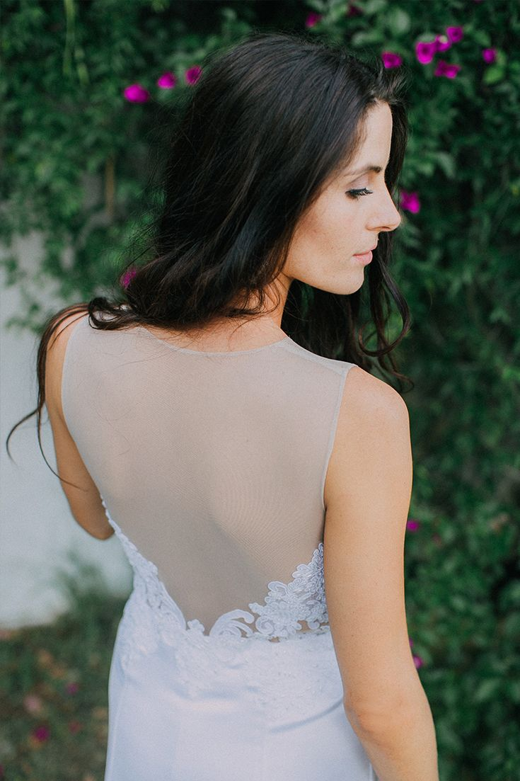 Love the open back illusion of this wedding dress by CE Bridal Couture. Beautiful for a boho bride like Hestre.
