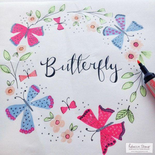 Butterfly Wreath by Rebecca Stoner - Week 2 of my Animal Alphabet #animalalphabet2016 #handdrawnlettering #butterfly #butterflies