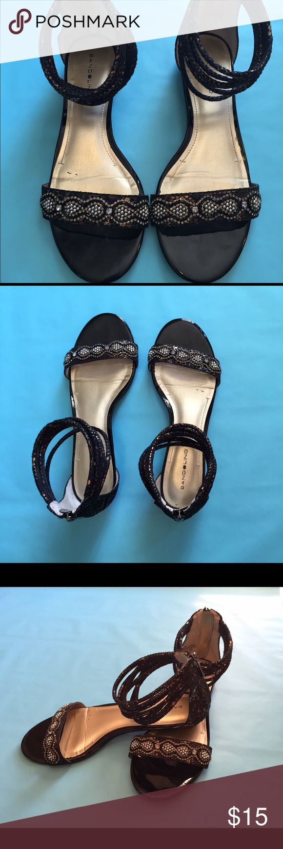 Dressy flat sandal Black sandal zips up the back. Beautiful beading! Only worn once or twice. Nine West Shoes Sandals