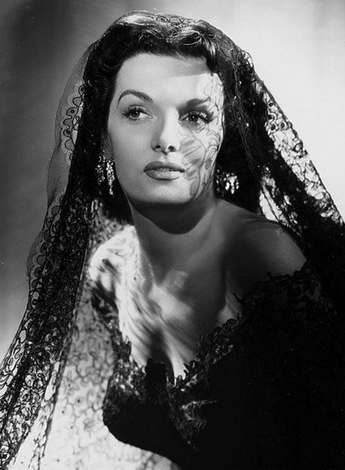 Jane Russell - a still from Gentlemen Prefer Blondes (1953). Lace dress and veil by Travilla.